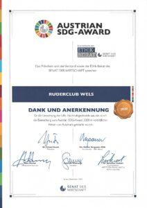 Austrian SDG Award 2020 für Ruderclub Wels